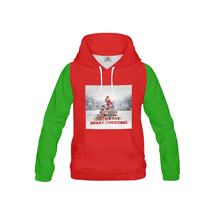 YOUTH INTERNATIONAL CHRISTMAS TREE GRAPHIC PULL-OVER HOODIE // Multicolored