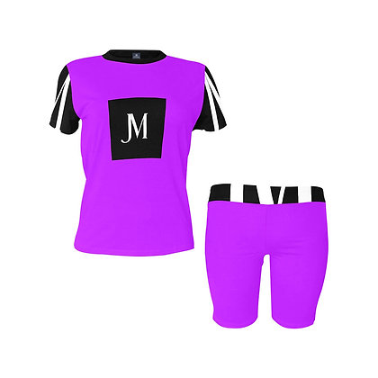 WOMEN'S JM LOGO TWO-PIECE ATHLEISURE SHORTS SET // Neon Purple, Black, & White