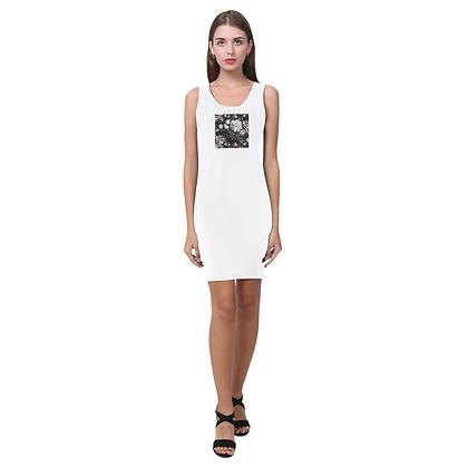SLEEVELESS FLORAL PRINT BODYCON DRESS // White & Dark Floral