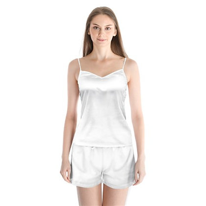 WOMEN'S SATIN CAMI PAJAMA SET // White