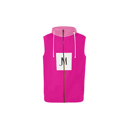 GIRLS SLEEVELESS JM ZIPPER HOODIE // Hot Pink & Light Pink w/ Logo