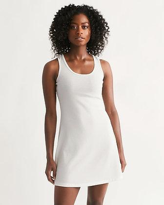 WOMEN'S RIB-KNIT RACERBACK DRESS // White
