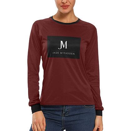 WOMEN'S JM COMPANY LOGO LONG SLEEVE T-SHIRT // Oxblood, Black, & White