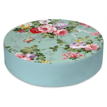 VINTAGE FLORAL PRINT ROUND FLOOR CUSHION // Multicolored