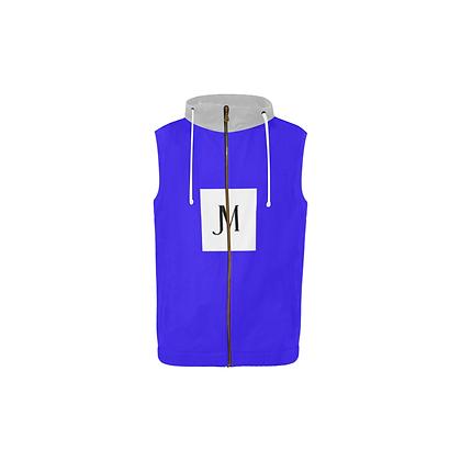 BOYS SLEEVELESS JM ZIPPER HOODIE // Blue & Grey w/ Logo