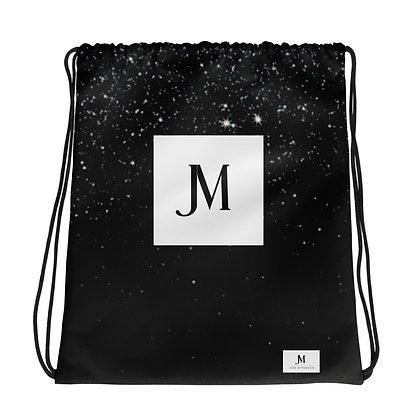 STARS IN THE SKY JM DRAWSTRING BAG //  Black & Silver Print with JM Logo