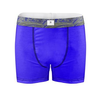 DAMASK PRINT BOXER BRIEFS // Royal Blue & Gold