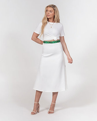 WOMEN'S MARBLE ABSTRACT PRINT A-LINE MIDI SKIRT // White, Jade Green & Gold