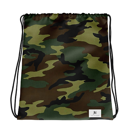 CAMOUFLAGE DRAWSTRING BAG // Green, Brown, & Black with JM Logo