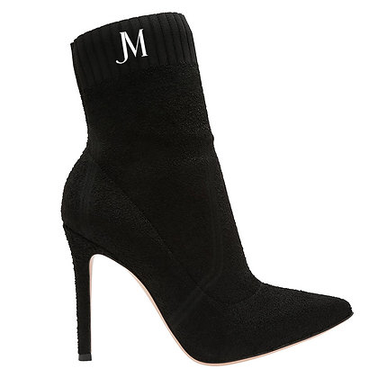 JM LOGO SUEDE SOCK BOOTS // Black & White