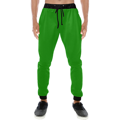 MEN'S CASUAL SPORT JOGGER PANTS // Green & Black