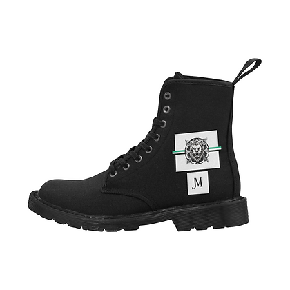 WOMEN'S ROYAL COAT OF ARMS LACE-UP CANVAS BOOTS // Black, White, & Jade Green