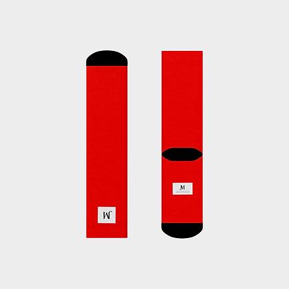 JM COMPANY LOGO CREW SOCKS // Red, White, & Black