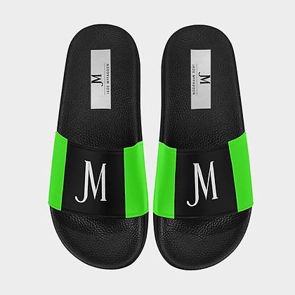 MEN'S JM LOGO SLIDE SANDALS // Black, White, & Neon Green