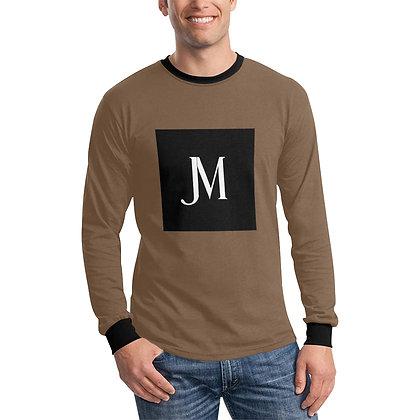 MEN'S JM LOGO LONG SLEEVE T-SHIRT // Dark Taupe, Black, & White
