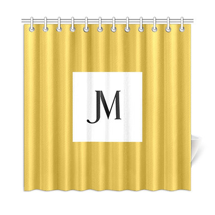 JM LOGO SHOWER CURTAIN // Gold Metallic, White, & Black