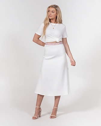 WOMEN'S MARBLE ABSTRACT PRINT A-LINE MIDI SKIRT // White, Light Pink & Gold