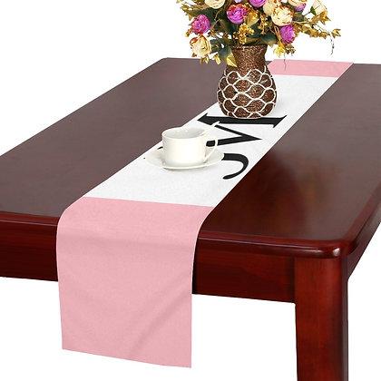 JM LOGO TABLE RUNNER // Light Pink, White, & Black