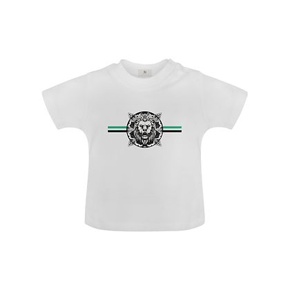 KIDS ROYAL COAT OF ARMS BABY UNISEX T-SHIRT // White, Black, & Jade Green