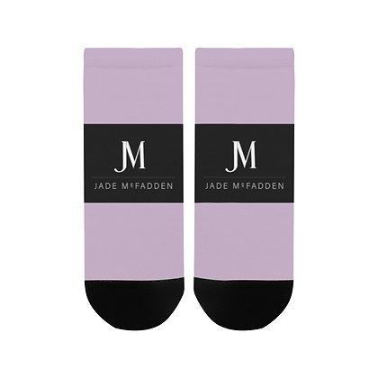 WOMEN'S JM COMPANY LOGO ANKLE SOCKS // Lavender, Black, & White