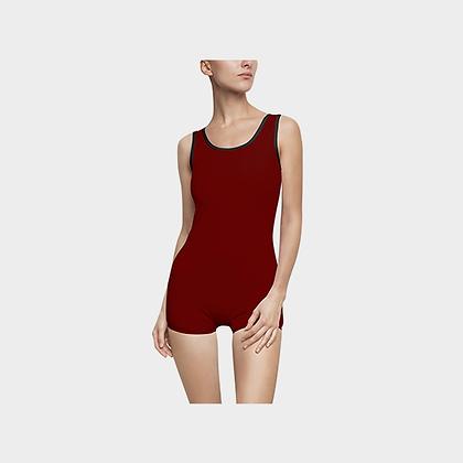 WOMEN'S JM COMPANY VINTAGE-STYLE SWIMSUIT // Cranberry & Black, w/ Logo