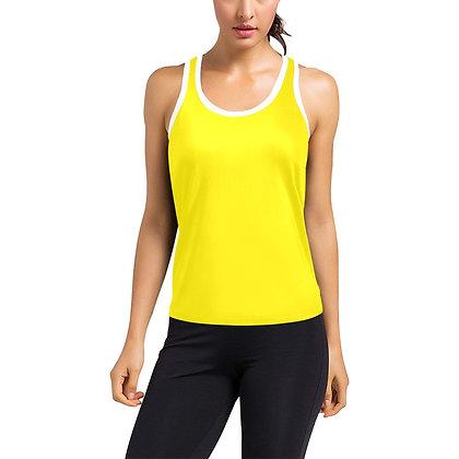 WOMEN'S JM LOGO HYBRID RACERBACK TANK TOP // Canary Yellow, White, & Black