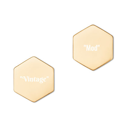 """Vintage"" & ""Mod"" HEXAGON STUD EARRINGS // 24K Gold Plated & White Print"