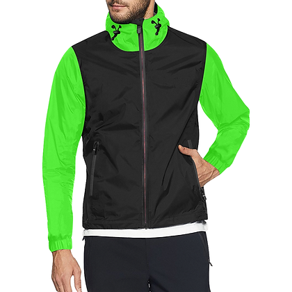 MEN'S HOODED WINDBREAKER JACKET // Black & Neon Green
