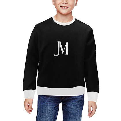 KIDS UNISEX JM LOGO CLASSIC CREWNECK SWEATSHIRT // Black & White