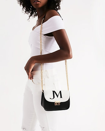 JM LOGO VEGAN LEATHER SHOULDER CHAIN BAG // Black, White, & Gold