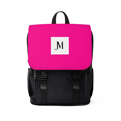 JM OXFORD CANVAS BACKPACK // Hot Pink & Black with JM Logo