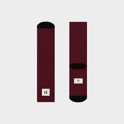 JM (JADE McFADDEN) COMPANY LOGO CREW SOCKS // Burgundy & Black