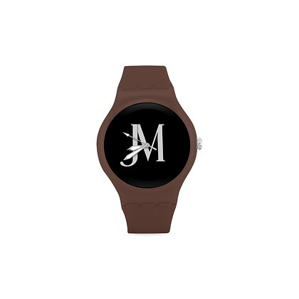 ADULT JM LOGO ROUND RUBBER SPORT WATCH // Brown, Black, & White