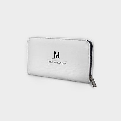 LEATHER JM COMPANY ZIP PURSE (WALLET) // White w/ Black JM Logo