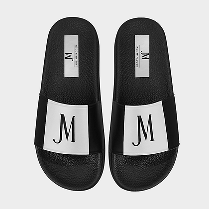 MEN'S JM LOGO SLIDE SANDALS (LARGE SIZES) // White & Black