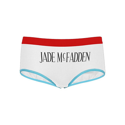 WOMEN'S JADE McFADDEN LOGO PRINT BOYSHORTS // White, Black, Red, & Light Blue