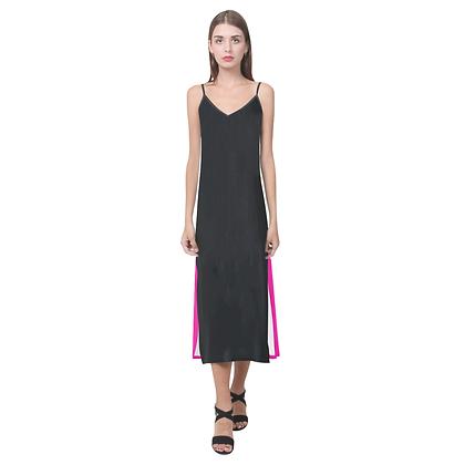 WOMEN'S DUAL COLOR V-NECK OPEN FORK SLIP DRESS // Black & Neon Pink