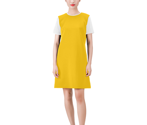 SHORT SLEEVE ROUND NECK A-LINE COLOR-BLOCK DRESS #4 // Multicolored