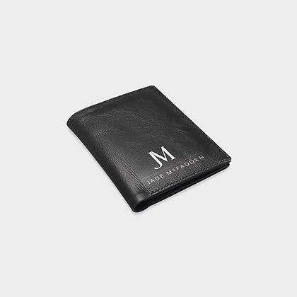 MEN'S LEATHER JM COMPANY LOGO WALLET // Black & White