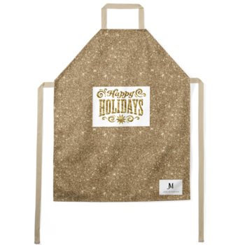 HAPPY HOLIDAY APRON //  Gold Sparkle Print & White, with JM