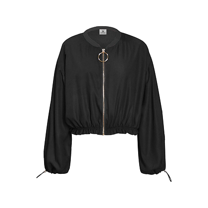 WOMEN'S CHIFFON CROPPED JACKET // Black