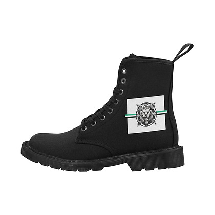 MEN'S ROYAL COAT OF ARMS LACE-UP CANVAS BOOTS // Black, White, & Jade Green
