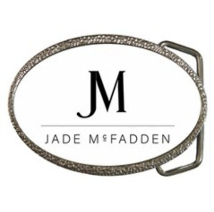 JM COMPANY LOGO BELT BUCKLE // White, Black, & Chrome