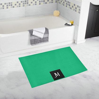 JM LOGO BATH RUG // Jade Green, Black, & White