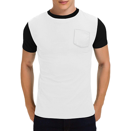 MEN'S SHORT SLEEVE ROUND NECK POCKET T-SHIRT // White & Black