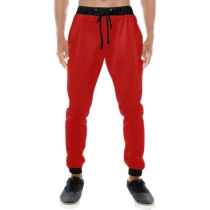 MEN'S CASUAL SPORT JOGGER PANTS // Red & Black