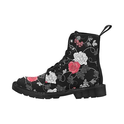 WOMEN'S JM RETRO FLORAL PRINT LACE-UP CANVAS BOOTS // Multicolored-Floral Print
