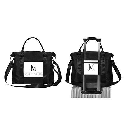 JM COMPANY LOGO OXFORD TRAVEL DUFFLE BAG // Black & White
