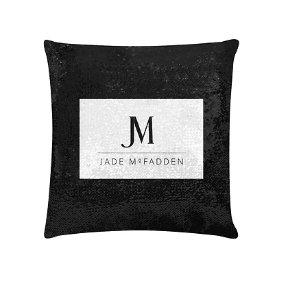 JM COMPANY LOGO SEQUIN PILLOWCASE // Black & White