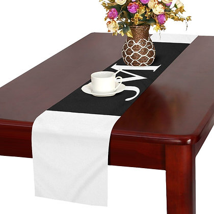 JM LOGO TABLE RUNNER // White & Black
